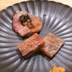 東京肉しゃぶ家 - 牛タン昆布締め、サーロイン味噌漬け