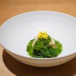 104330142 - 菜の花と車海老とホタテ