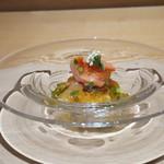 日本料理 e. - 赤貝と鮑の土佐酢ジュレがけ