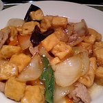 10435494 - 厚揚げ豆腐と豚肉の炒め アップで