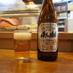 ふさ鮨 - ビールはアサヒ、グラスはキリン