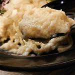 布施丿貫 - 「山崎真鯛と羅臼昆布の冷やし白湯そば」の鯛ペーストのアップ