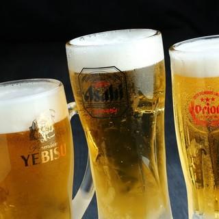 時季の鮮魚との相性抜群!キンキンに冷えた3種のビールをどうぞ