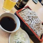 そば処梅屋 - 料理写真:もりそば&瓶ビール2019.3.24