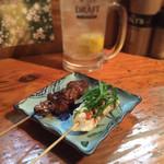 焼き鳥 まる - レバ・ささみ梅しそ焼き 宮崎県銘柄鶏 さつま純然鶏