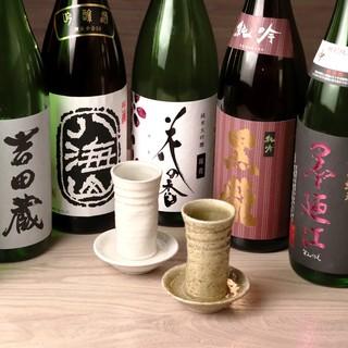 日本各地から季節毎に仕入れ。常時12種類揃える「日本酒」