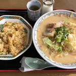 ミッキー - 料理写真:牛乳みそホルモンチャンポン定食  1000円(2019/3/26)
