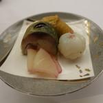 川甚 - ごはん(鯖寿司、いなり、手毬寿司)