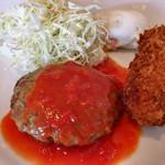 デニーズ - トマトハンバーグと蟹クリーミーコロッケ ¥680(税込)