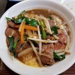 松ちゃんラーメン - レバニラTKG丼完成。