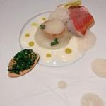 104528377 - お魚のメイン ホタテと金目鯛