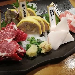 馬刺し/コウネ(たてがみ)/フタエゴ(お腹の肉)/からし蓮根