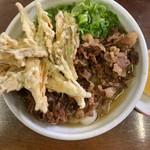 日向うどん財光寺 - 料理写真:肉うどん(ごぼう天トッピング)