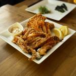 フクモリ - えび、ゲソ、六田の焼き麩の唐揚げ