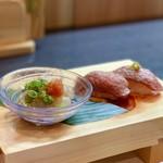和食焼肉 和や - 河豚のポン酢と近江牛炙り寿司