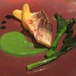 ミチノ・ル・トゥールビヨン - 梭子魚のポワレ 菜の花のソース