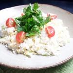 北信州の旬野菜たっぷりレストラン しんこきゅう - 【春の一押しメニュー】春の風香る!しらすと卵の炊き込みまぜご飯!クレソンサラダ仕立て