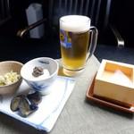 北信州の旬野菜たっぷりレストラン しんこきゅう - 【春の一押しメニュー】春の旬野菜とお酒を楽しむ!チョイ飲みセット    3種の旬野菜おばんざい小鉢3つ+生ビールor 日本酒セット