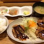 わたしの食卓 - 日替わり定食(メンチカツと豚生姜焼き)