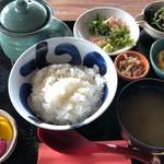 漁師カフェ 堂ヶ島食堂 - 潮カツオ茶漬け定食 735円。