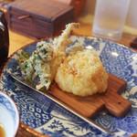 千寿 竹やぶ - やまうど、なす、菜の花、海老搔き揚げ