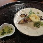 心根 - 焼き物 本モロコ炭焼き 新ジャガ芋リング揚げ 蕗の薹・クレソン天ぷら