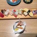 回転さかなや寿司・魚忠  - 本日のおすすめ7貫盛りです。