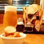 煙陣 - 煙陣@帯広 生ビールとお通し(エゾ鹿のカレー)