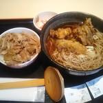 蕎麦処 グレゴリー - 舞茸天そば(温) 650円、ミニ豚丼 400円