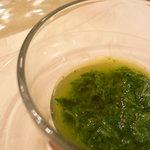 10469248 - お楽しみその1:ケールのスープ。オリーブオイルが合いますっ。