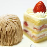 マールブランシュ カフェ - 苺のショートケーキ。モンブラン。
