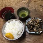 元祖白橋 - 料理写真:ごはん 150円+馬ホルモン鉄板焼き 600円