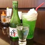 カフェ クオーレ - クリームソーダ(470円)宮の雪・生貯蔵酒(670円)