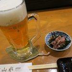海鮮居酒屋山水 - 先ずは生ビールです