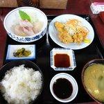 次郎長寿司 - 別日の「鳥天と刺身」
