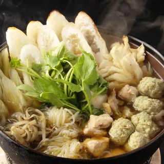 秋田名物比内地鶏のきりたんぽ鍋