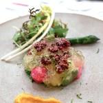 スプレンディード - ☆春の菜園風サラダ 鮪 唐墨ディップ トマトジュレ