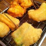 Kushikatsudengana - コーン、チーズ、うずら、アスパラ、玉ねぎ