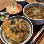 文珠庵 - 料理写真:ミニ天丼セット温かけ