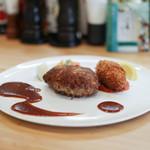 kitchen俊貴 - 黒毛和牛100%ハンバーグステーキ&ズワイガニのクリームコロッケ☆