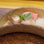 肴とお酒 うを弘 - お造り:カマス、鮃、アオリイカ、金目鯛