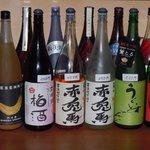 スターダスト - 最近人気の高い梅酒です! 一番人気は左から2番目のブラッドオレンジ梅酒(天吹酒造)です。