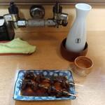 一松 - 料理写真:肝焼きとあちゅかん。ぷしゅー不可避のマリアーヂュ()