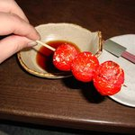 ヤキトリツヨシ - 料理写真:トマト串2本250円