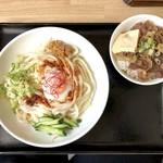 日本橋うどん酒場ほし野 - 冷ごま味噌うどん(630円)+ミニ牛めしセット(350円)