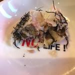 餃子家 龍 - 広島菜餃子断面 海苔の味が強いんじゃないかな?   後から広島菜が存在を主張します