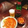 飲茶居酒屋 大福源 - 料理写真:バンバンジー[580円→340円]と青島ビール[450円]&お通しの肉味噌のせ豆腐
