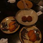 琉球の風 波照間 - コースの田芋の胡麻団子と揚げ紅いも