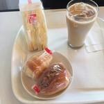 104974780 - 玉子サンド+カレーコロッケパン+ミニコロネカスタード+アイスカフェオレ