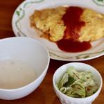 104975745 - オムライス(スープ・サラダ付)